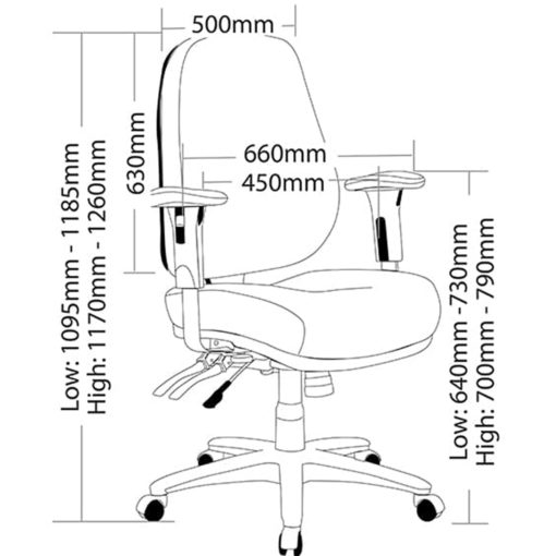 Dimensions of heavy duty office chair