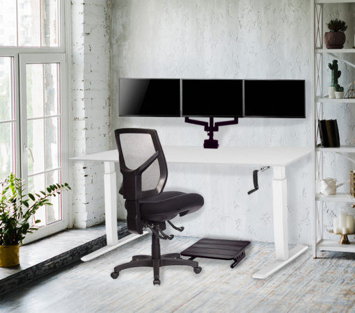Lima desk - H1foce chair - Actiflex II triple static monitor arm and mount