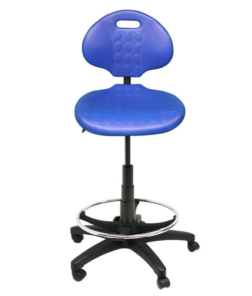 Clam Round Drafting Chair front blue