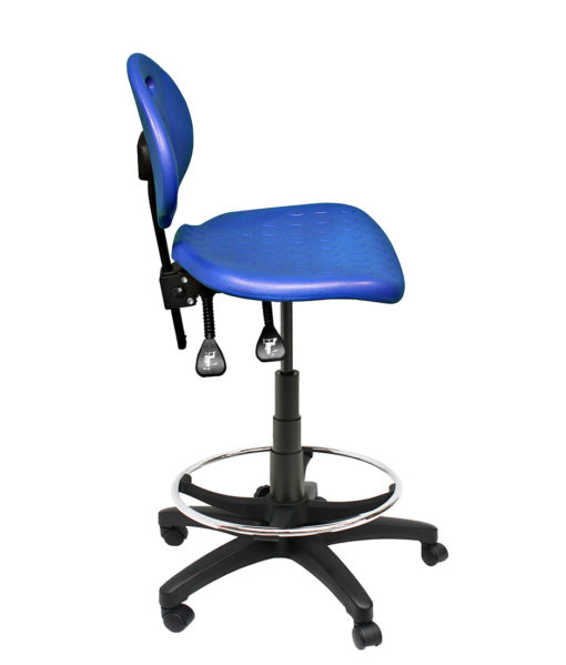 Clam Round Drafting Chair side blue