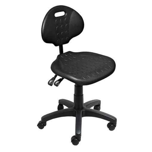 Clam round standard gas trut chair black angle 600X600
