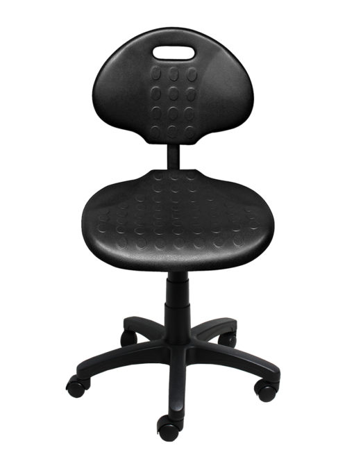 Clam round standard gas trut chair black front LR