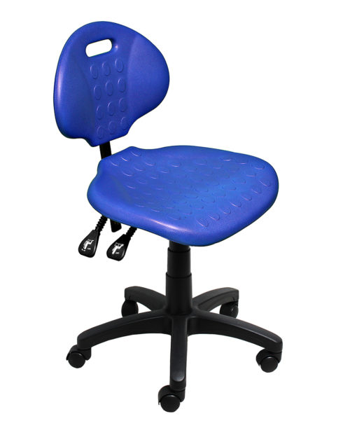 Clam round standard gas trut chair blue angle LR